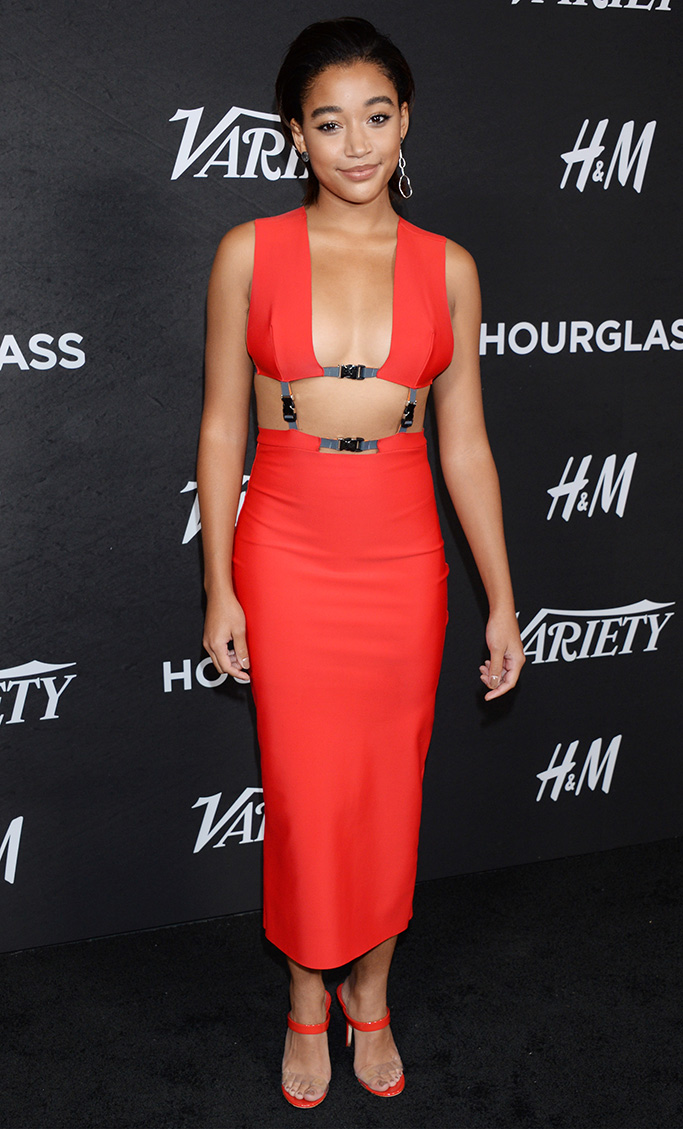 Amandla Stenberg, Giuseppi Zanotti mules, Variety's Power of Young Hollywood, Los Angeles, USA - 28 Aug 2018Variety Annual Power of Young Hollywood WEARING CHROMAT SAME OUTFIT AS CATWALK MODEL *5894773ai