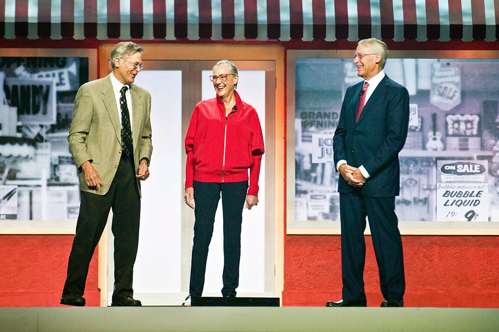 Jim Walton, left, Alice Walton, center, and Rob Walton, right, children of Walmart Inc. founder Sam Walton, attend a Walmart shareholders' meeting in Fayetteville, Ark. Since 2006, philanthropists and their private foundations and charities have given almost half a billion dollars to charter school groups, according to an Associated Press analysis of tax filings and Foundation Center data, with the Walton Family Foundation being the largest donorCharter Schools Billionaire Donors, Fayetteville, USA - 01 Jun 2012