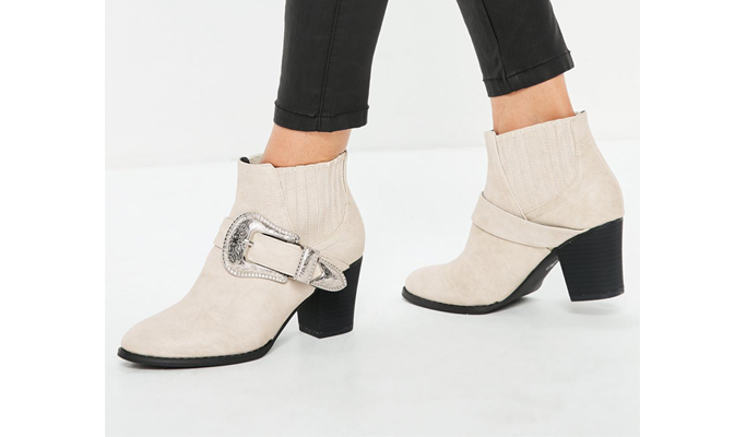 MIssGuided Large Buckle Western Chelsea Boots