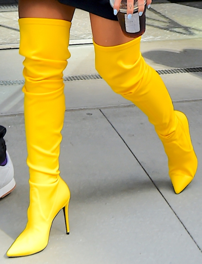 ariana grande, yellow thigh-high boots, street style