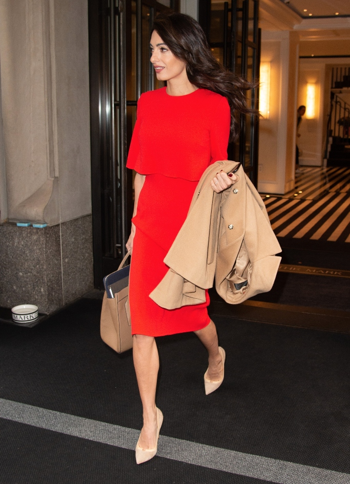 amal clooney, red dress, united nations