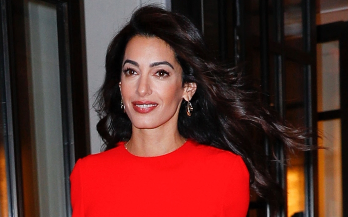 Amal Clooney leaves her hotel to go to a United Nations' event in New York, Sept. 28