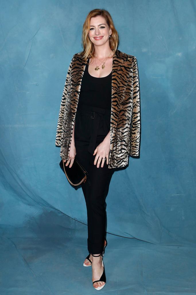 Anne Hathaway, givenchy, spring 2019, paris fashion week, tiger