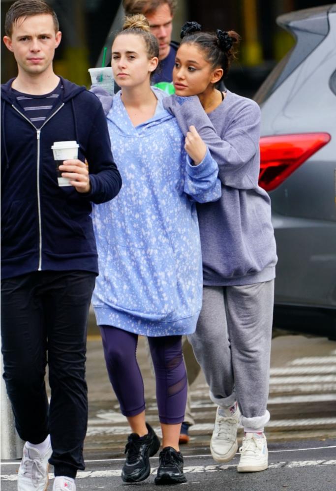 Ariana Grande Walks in the Rain in