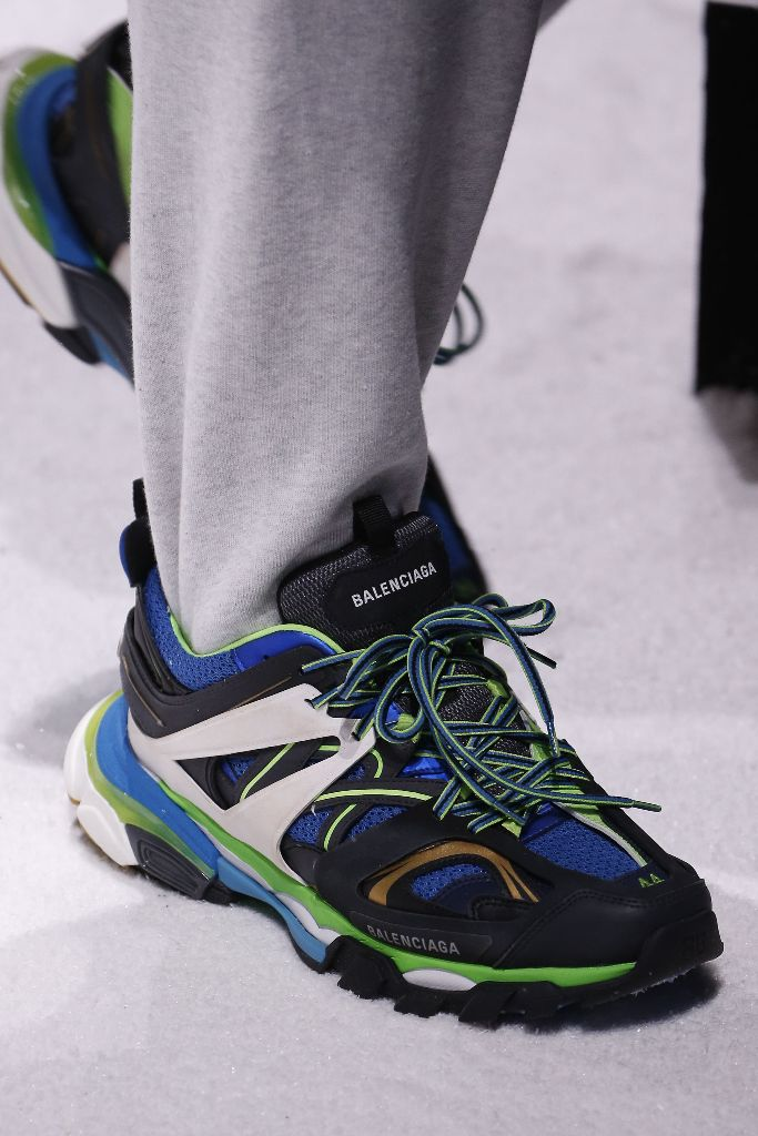 balenciaga track trainer, dad shoes, blue shoe, chunky sneaker, summer shoe, sneaker trends