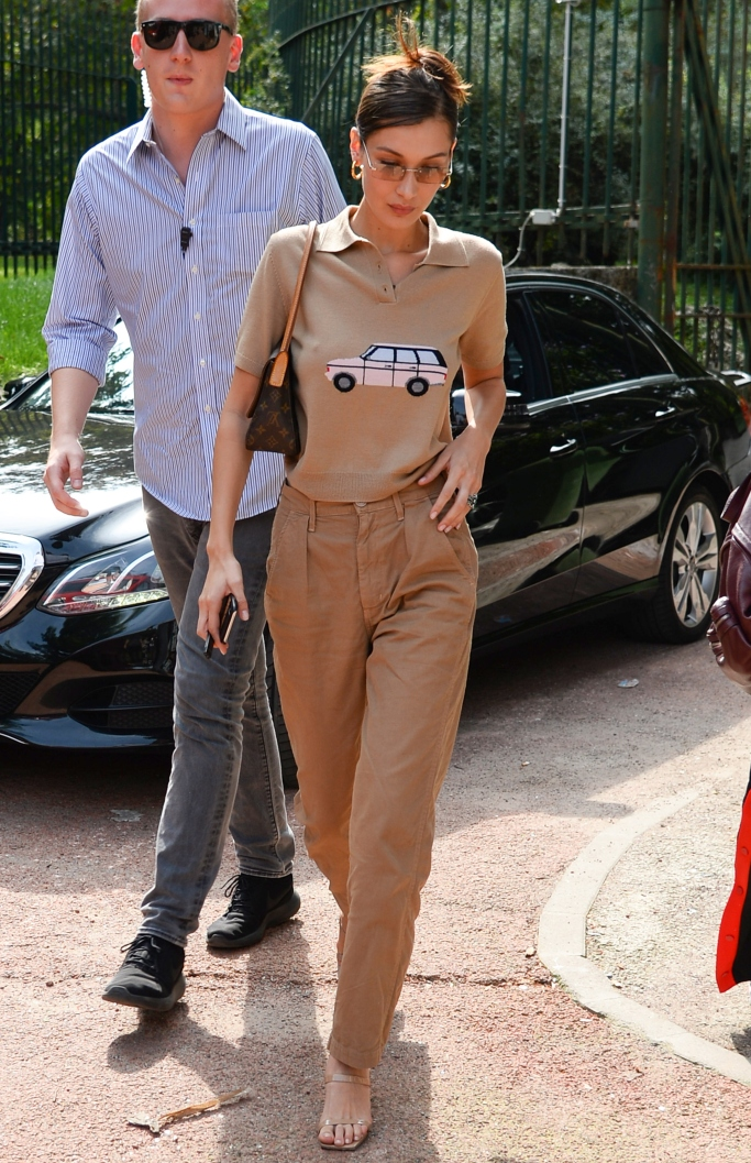 by far tanya sandals, bella hadid, milan fashion week, street style