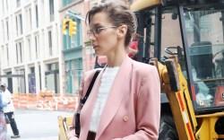 bella hadid, chunky sneakers, pink set