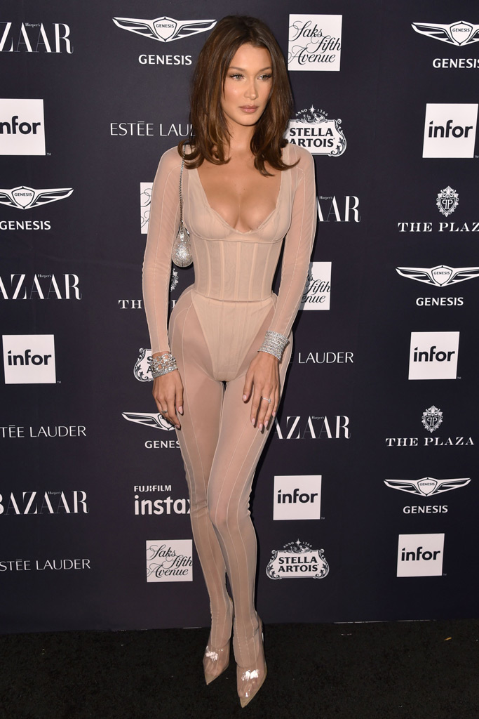bella hadid, nude catsuit, red carpet, nyfw, new york fashion week, celebrity style
