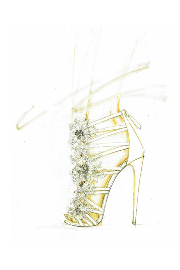 A sketch of Arianna's wedding shoe.