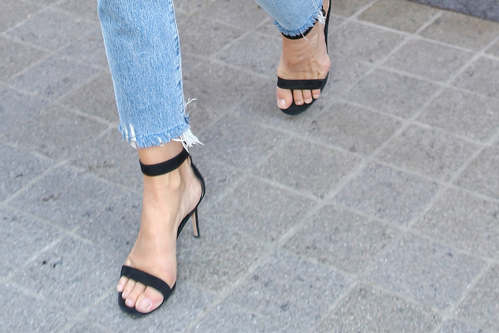cindy crawford, black sandals
