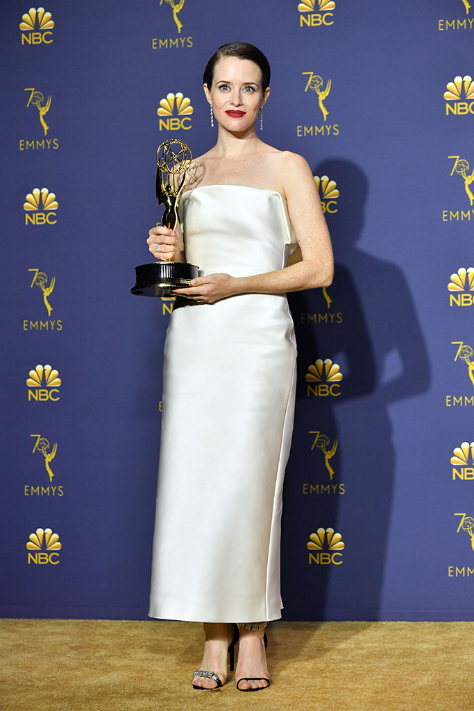Claire Foy - Outstanding Lead Actress in a Drama Series - 'The Crown'70th Primetime Emmy Awards, Press Room, Los Angeles, USA - 17 Sep 2018WEARING CALVIN KLEIN BY APPOINTMENT