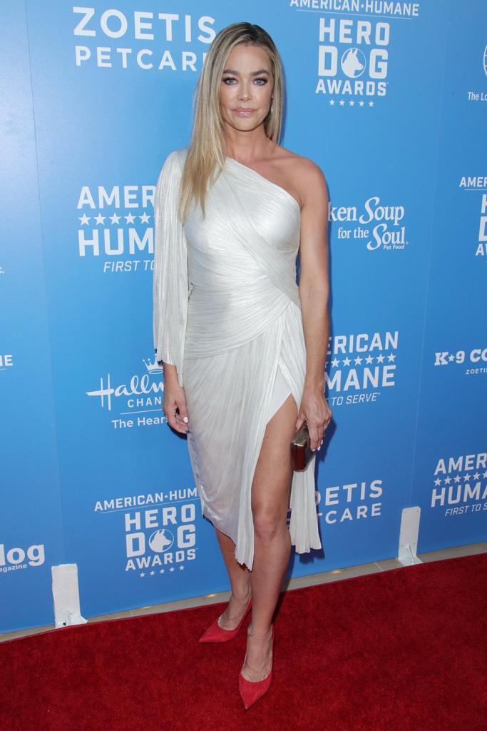 Denise Richards, silver dress, red pumps, red carpet