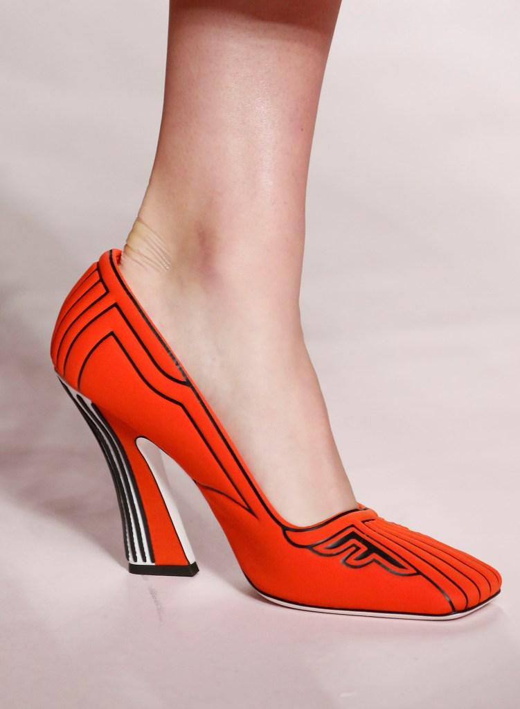 Model on the catwalk, shoe detailFendi show, Detail, Spring Summer 2019, Milan Fashion Week, Italy - 20 Sep 2018