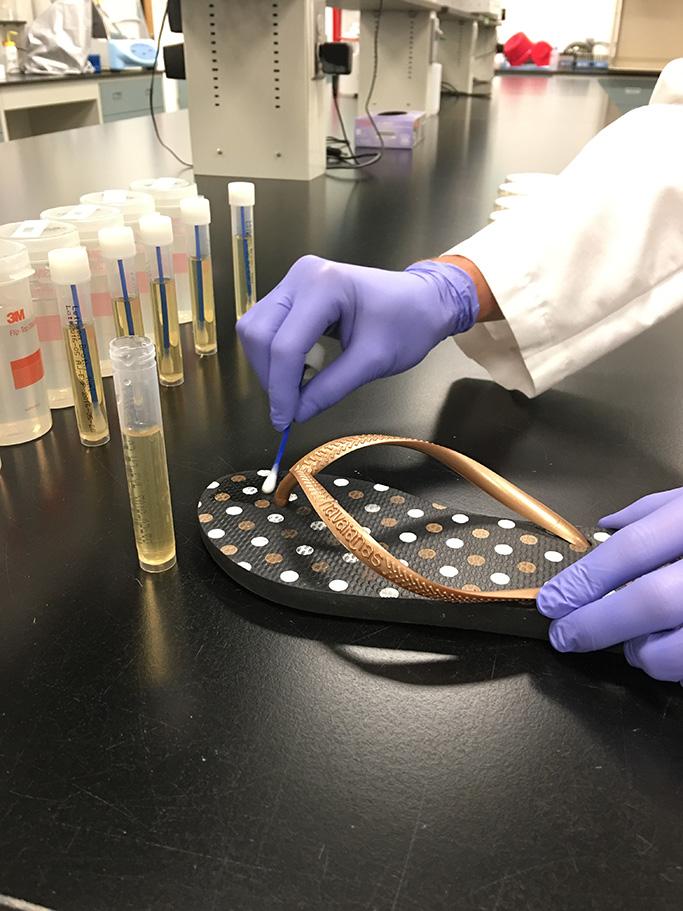Flip-flops sent for Microban bacteria testing