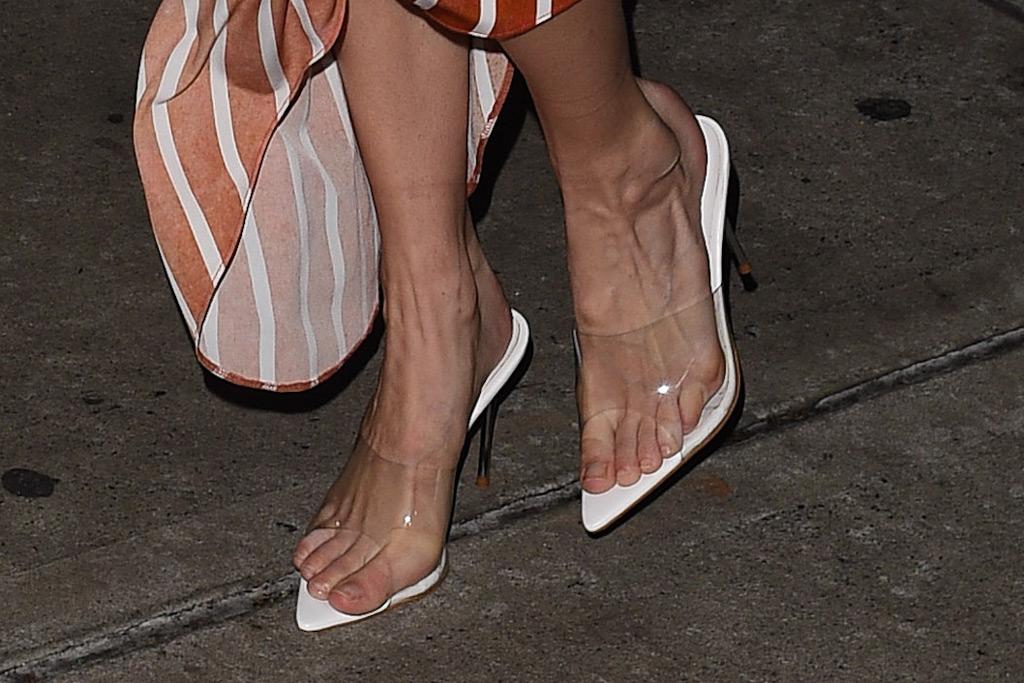 Gigi Hadid, New York Fashion Week, clear sandals trend