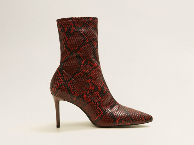 Mango Snake-effect Ankle Boots