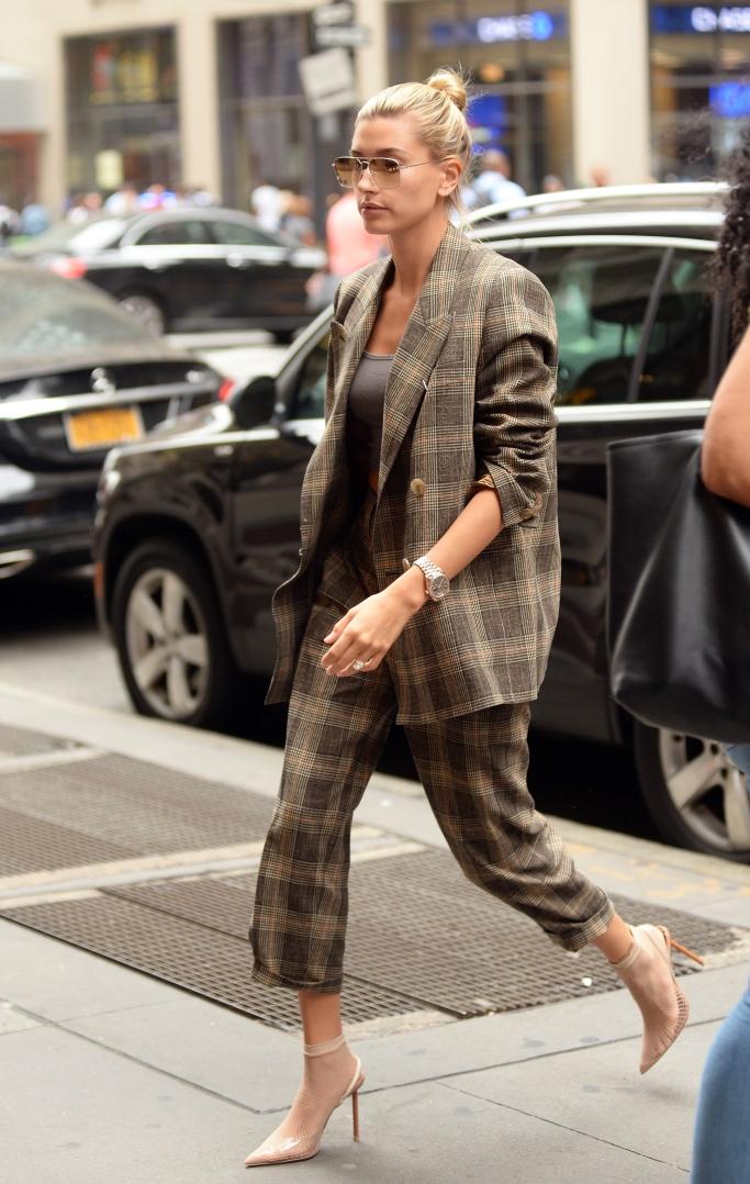 hailey baldwin, Alexander Wang Caden fishnet heels, street style