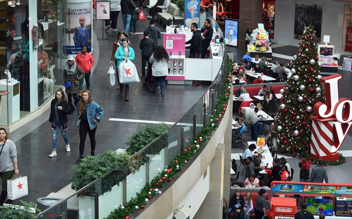 holiday shoppers at a mall