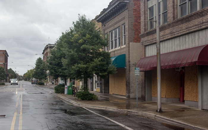 Boarded up storefronts preparing for Hurricane Florence
