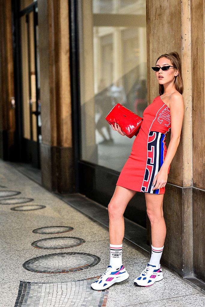 Street style, Iceberg fashion show, Spring Summer 2019, Milan Fashion Week, Italy - 21 Sep 2018