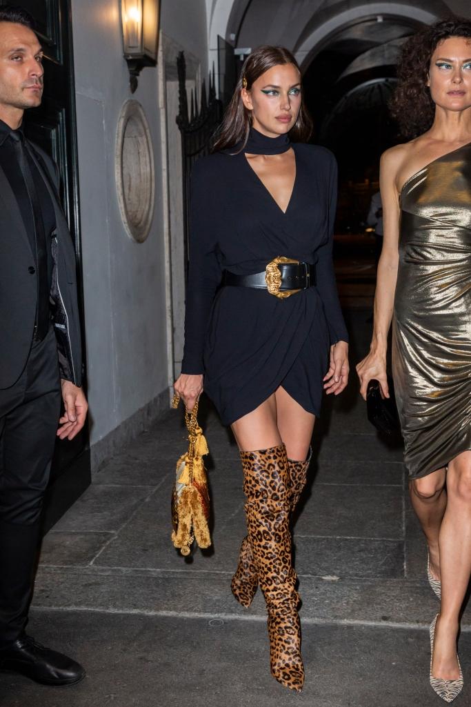 irina shayk, thigh-high boots, versace, milan fashion week