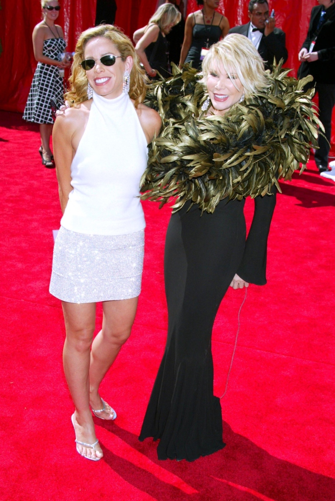 joan rivers, melissa rivers, feathers 2003 emmys, red carpet