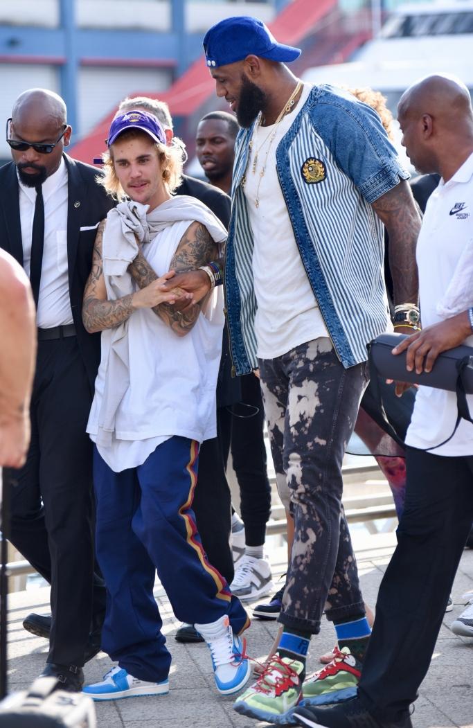 lebron james, justin bieber, John Elliott spring 2019, new york fashion week, @Nike React Element 87 sneakers, off-white nike jordan 1 unc