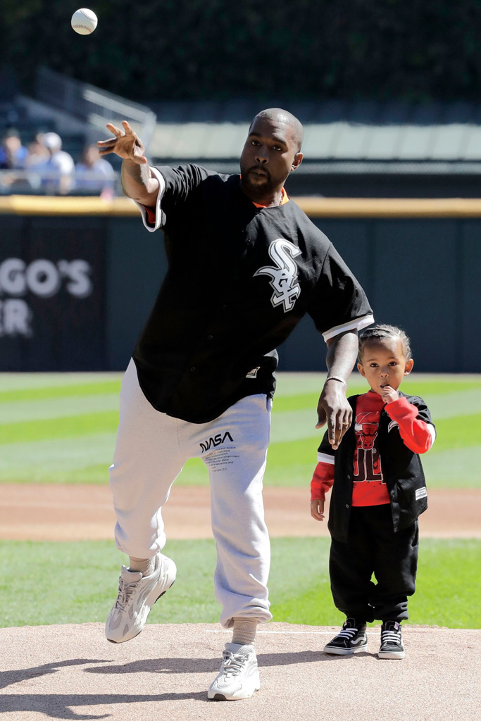 kanye west, saint, Chicago White Sox, first pitch