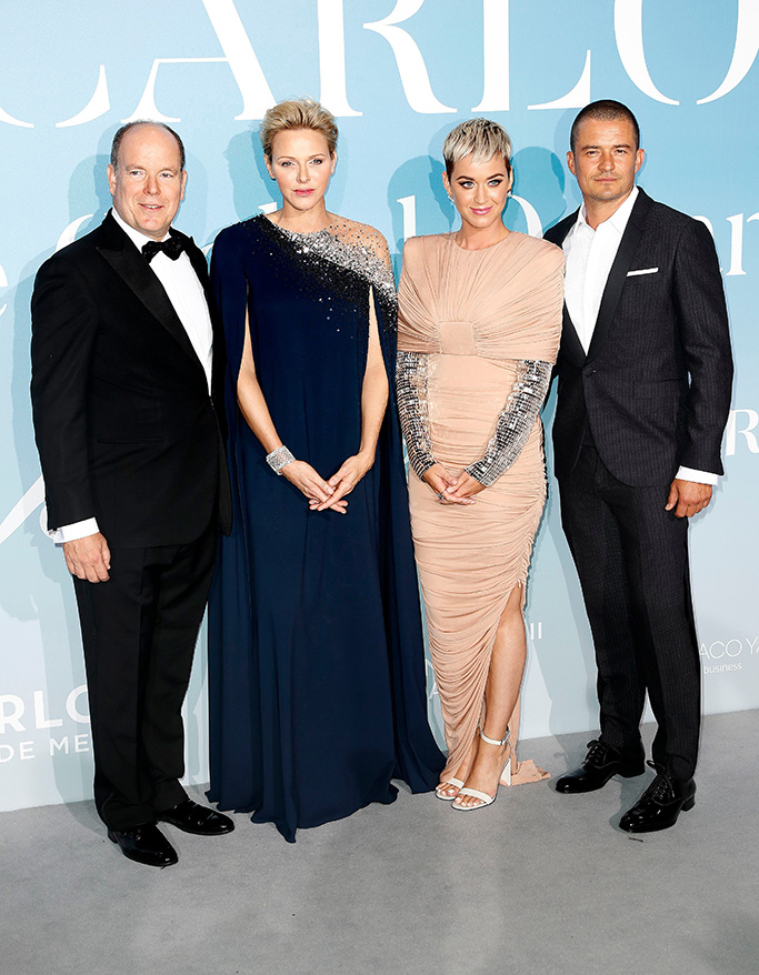 Albert II of Monaco (L), his wife Princess Charlene (2-L), US singer Katy Perry (2-R) and British actor Orlando Bloom (R) attend the 2nd Monte-Carlo Gala for the Global Ocean 2018 in Monaco, 26 September 2018. The Monte Carlo Gala for the Global Ocean, hosted by the Prince Albert II of Monaco Foundation, is a fundraising auction, to support the Foundation's marine conservation initiatives.Monte Carlo Gala, for the Global Ocean 2018, Monaco - 26 Sep 2018