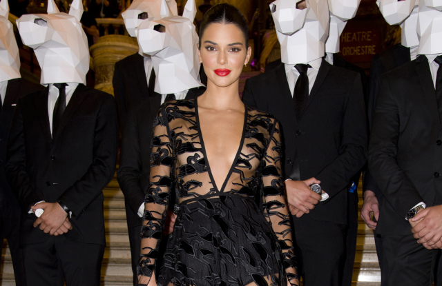 Kendall Jenner attends Longhamp 70th birthday event in Paris.