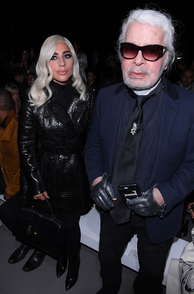 Lady Gaga and Karl Lagerfeld in the front rowCeline show, Front Row, Spring Summer 2019, Paris Fashion Week, France - 28 Sep 2018