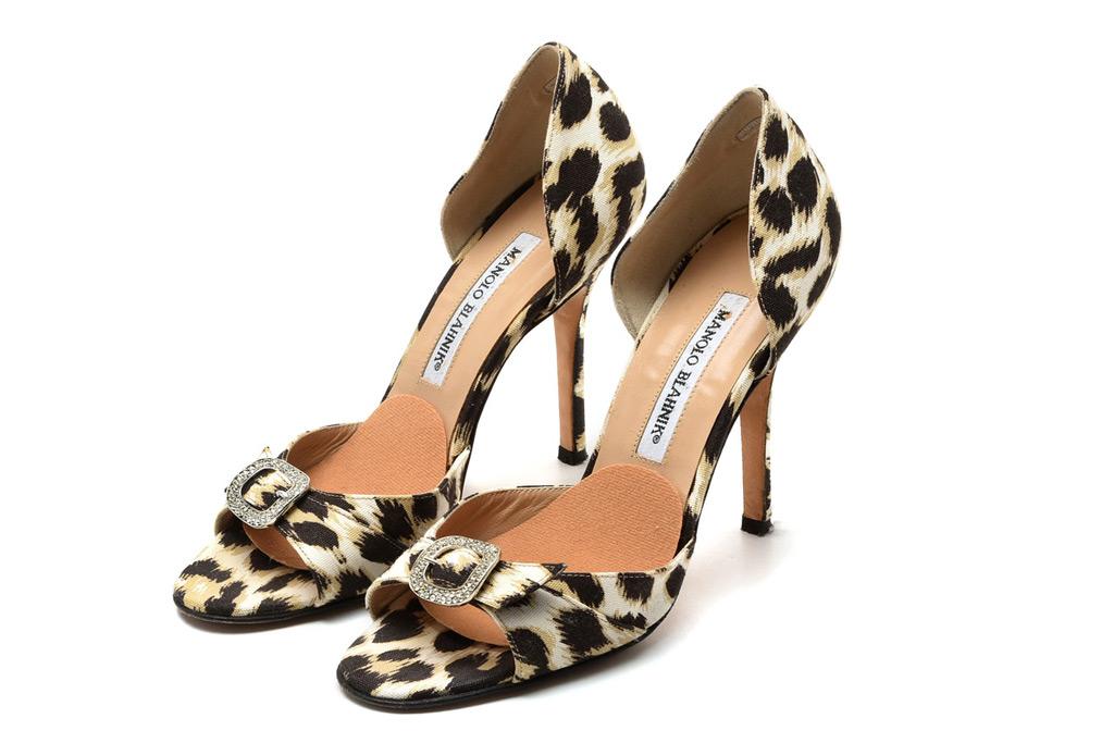 Manolo Blahnik Cheetah Print D'orsay High Heels with Rhinestone Buckle