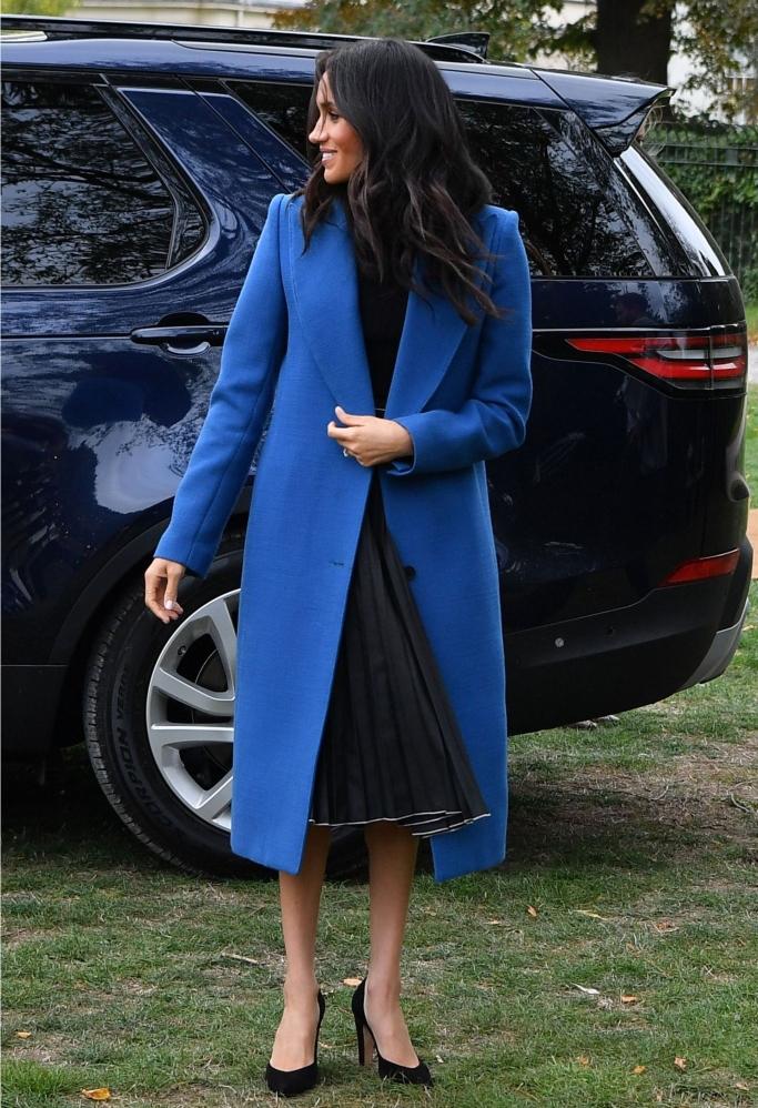 Misha Nonoo Saturday Skirt, smythe peaked lapel coat, meghan markle