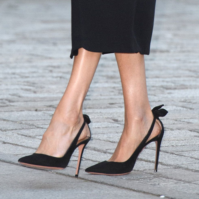 aquazzura high heels with bow, Meghan Duchess of Sussex'Oceania' exhibition opening, Royal Academy of Arts, London, UK - 25 Sep 2018