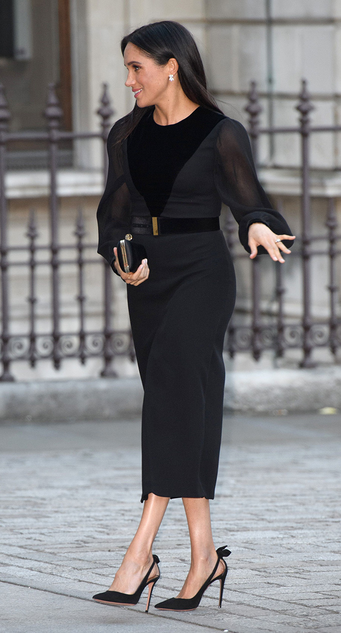 givenchy dress, aquazzura heels with bow, Meghan markle Duchess of Sussex'Oceania' exhibition opening, Royal Academy of Arts, London, UK - 25 Sep 2018