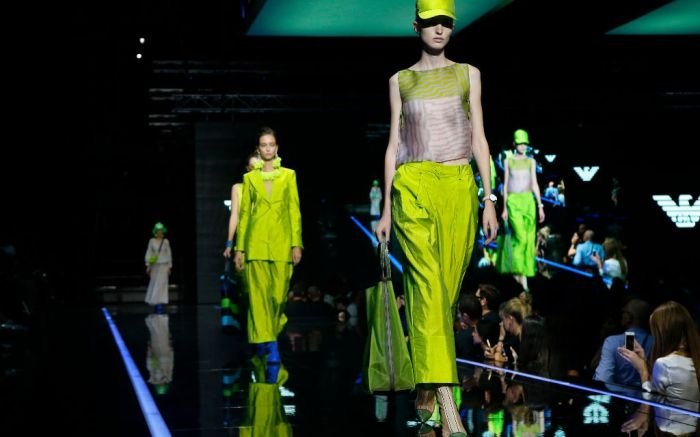 milan fashion week neon trend emporio armani spring 2019