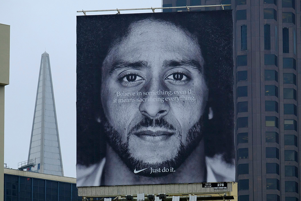 A billboard in San Francisco of the Nike ad with Colin Kaepernick