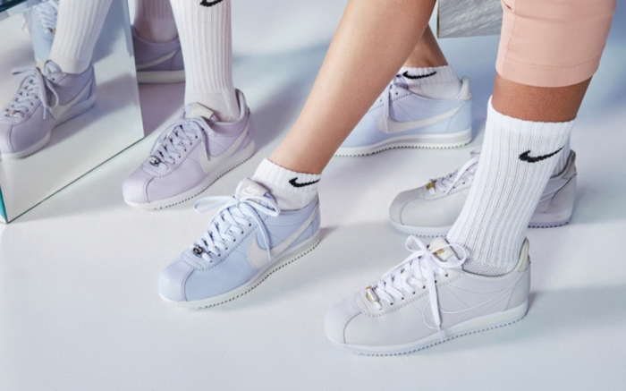 Nike Classic Cortez in Palest Purple, Half Blue, and Phantom White