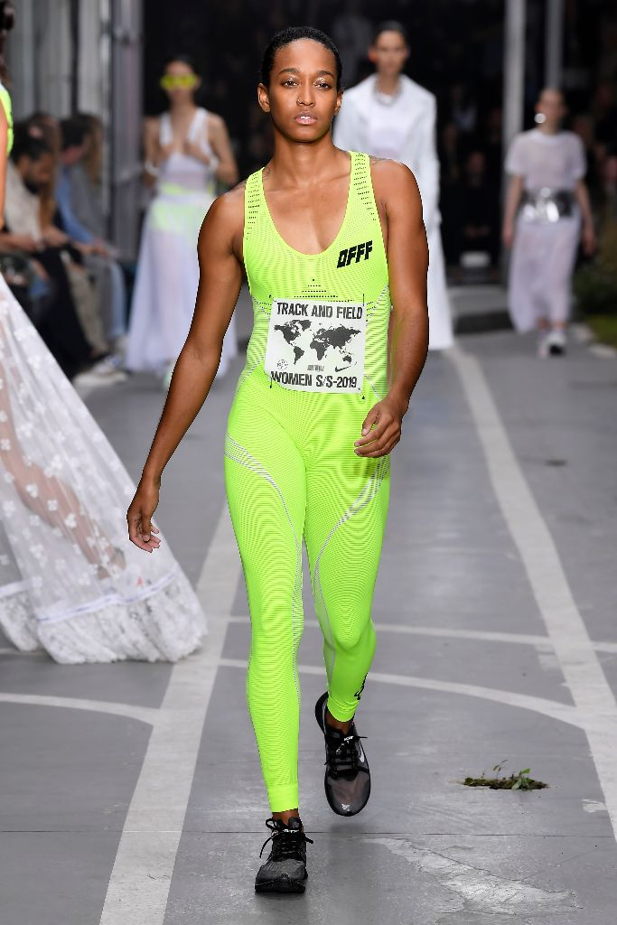off white spring 2019 neon catsuit