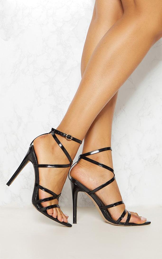 prettylittlething black sandals, strappy patent black
