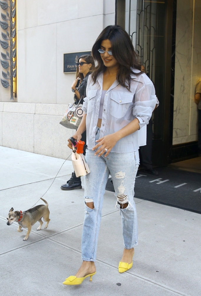 priyanka chopra street style, engagement ring, yellow mules, dog walking