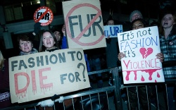 Anti-fur protesters outside the Burberry london