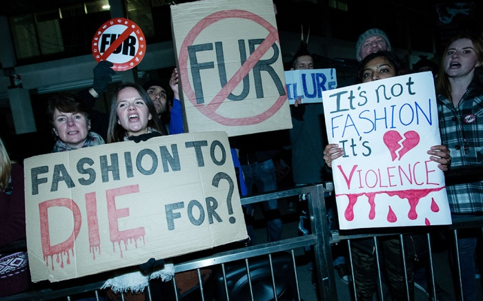 Anti-fur protesters outside the Burberry london fashion week showBurberry show, London Fashion Week, UK - 17 Feb 2018
