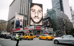 A new Nike ad campaign billboard