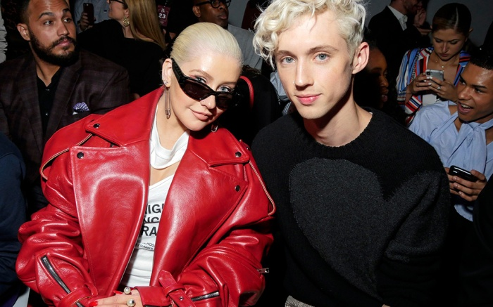 Christina Aguilera and Troye Sivan in the front rowChristian Cowan show, Front Row, Spring Summer 2019, New York Fashion Week, USA - 08 Sep 2018