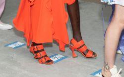 Model backstage, shoe detailSies Marjan show,