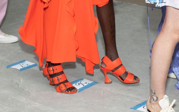Model backstage, shoe detailSies Marjan show, Backstage, Spring Summer 2019, New York Fashion Week, USA - 09 Sep 2018