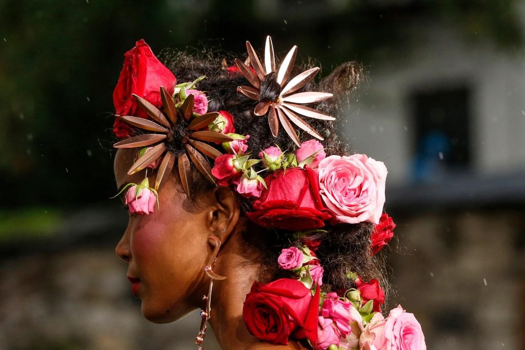Model on the catwalk, fashion detailRodarte show, Detail, Spring Summer 2019, New York Fashion Week, USA - 09 Sep 2018