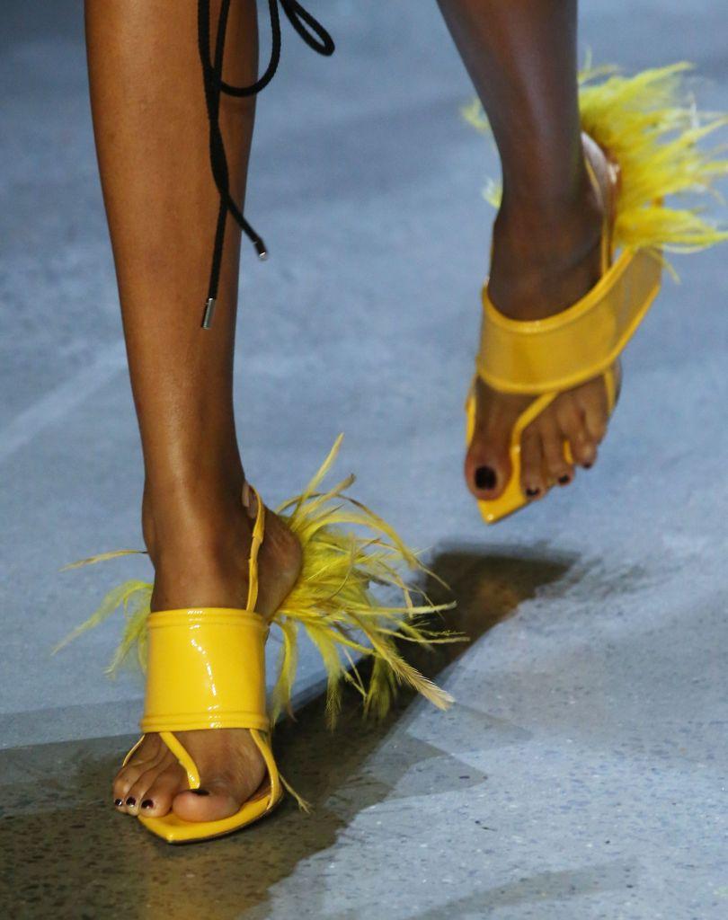 Model on the catwalk, shoe detailPrabal Gurung show, Detail, Spring Summer 2019, New York Fashion Week, USA - 09 Sep 2018