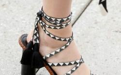 Oscar de la Renta leather-wrap tasseled sandals